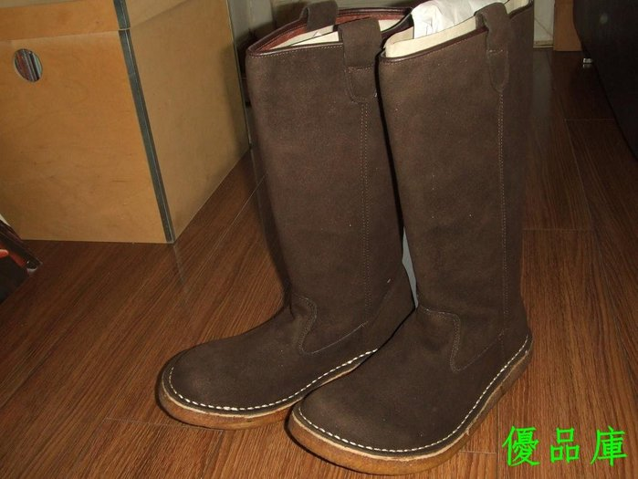 優品庫日本原單加厚牛皮雪地靴 耐磨生膠底高筒靴栗色翻皮女靴 39碼