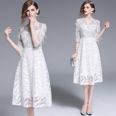 6373-實拍現貨法式重工禮服裙奢華顯瘦優雅氣質高貴鑲磚修身連衣裙