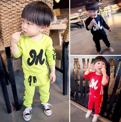 ♥ 【BS0048】CT-6511 韓版男童裝字母素面套裝 3色 (綠色 現貨) ♥