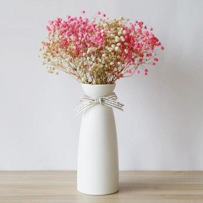滿天星干花帶花瓶簡約客廳辦公室小清新餐桌陶瓷擺件家居裝飾ins WD    全館免運