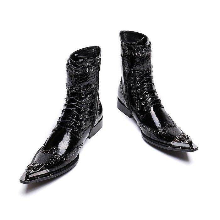 **蛻變英倫**韓國限定版連線熱賣高品質訂製歐美頂級款獨創搖滾歐美時尚尖頭馬丁靴男髮型師個性皮靴潮流英倫潮流復古朋克男靴