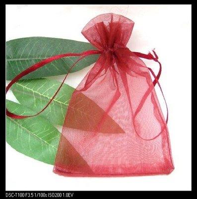 *婚禮小物*【酒紅】6*9素面雪紗袋~春節紗袋/糖果袋/結婚喜糖袋/拌手禮/送客禮~訂作