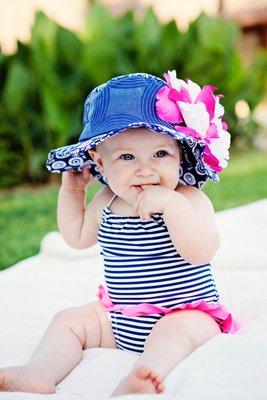 [全新美國購回] Jamie Rae Hats 海軍藍幾何花紋覆盆子梅紅牡丹花抗UV遮陽帽 2-4T