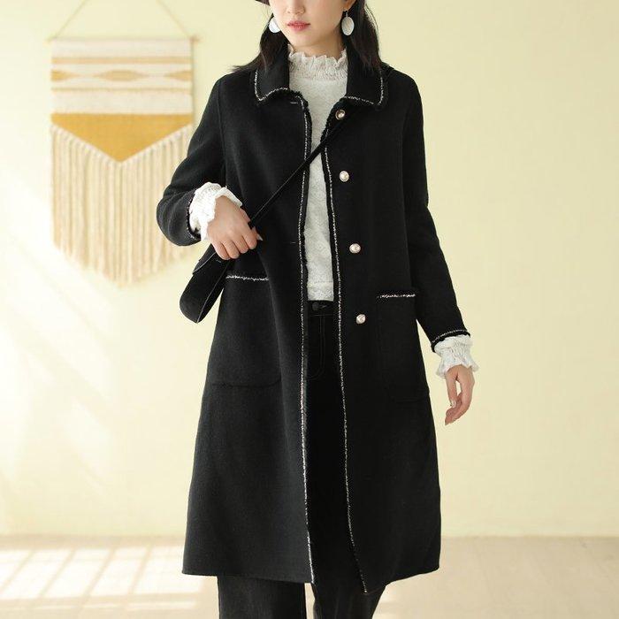 嫻靜雅致♥外套☆羊毛雙面呢流蘇珠扣大衣中長款毛呢外套
