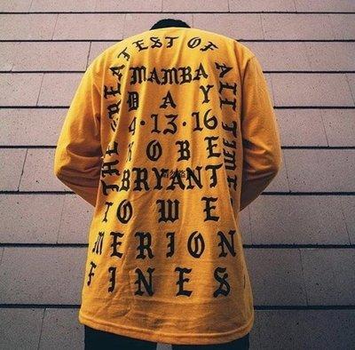 高街潮品 Kanye West I Feel Like kobe 侃爺科比紀念同款字母長袖男女T恤
