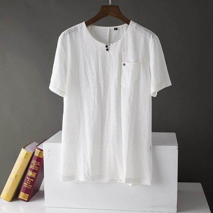 [C.M.平價精品館]新品特價165~190清新百搭舒適清爽白色單口袋短袖T恤