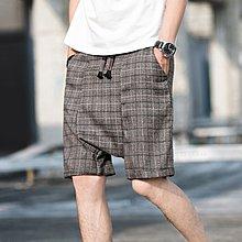 韓版 港風 男裝 英倫復古港風直筒闊腿短褲加肥加大碼男抽繩松緊腰日系休閑寬松款