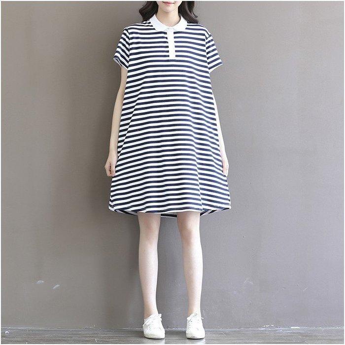 [C.M.平價精品館]M~3XL/清新有型學院風白領條紋休閒洋裝