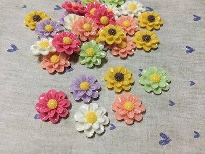 23mm 粉 白 綠 橘 紫 桃紅 花朵 造型DIY素材 奶油殼 貼鑽袖珍小物 飾品材料 (現貨)