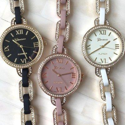手錶 配飾 新款羅馬表盤鏈條手鐲手表 帶鉆包鑲邊框鏈條日內瓦手表