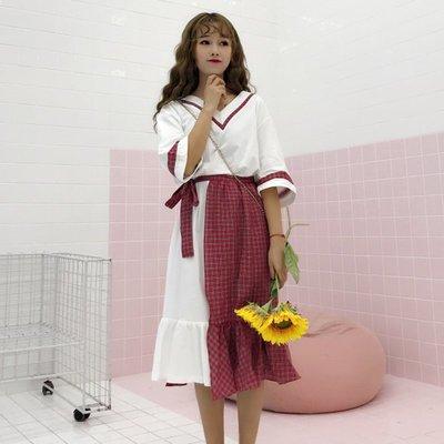 bf長裙00后學生韓版復古小清新套裝女夏兩件套學院風過膝原宿