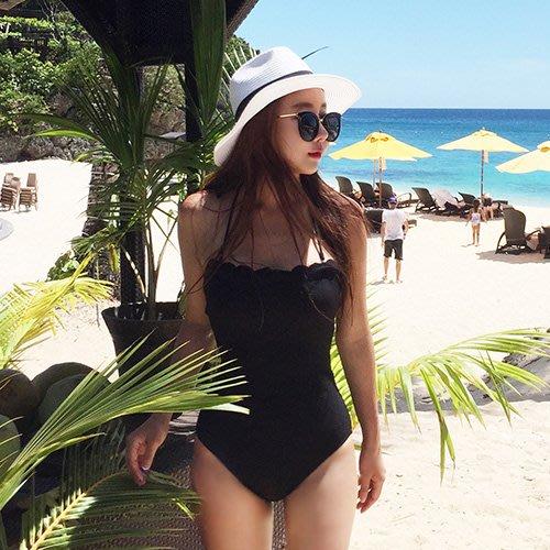 韓國定制網紅純色泳衣黑白性感連體三角小胸聚攏鋼托沙灘游泳衣女 YPJ衣品居