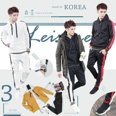 。SW。【K71113】正韓Zb 韓國製 經典條紋 彈性輕萊卡棉 觸感優  連帽 成套 縮口褲 運動風 套裝 歐美 GD