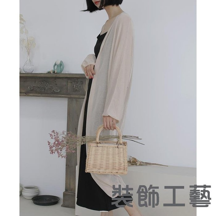 韓國夏季新款海邊度假防曬衫長款純色寬松針織開衫