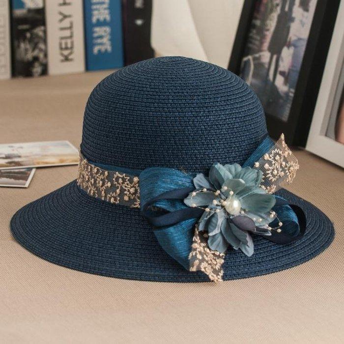 花朵蕾絲草帽子 女夏天正韓沙灘帽防曬遮陽帽海邊太陽帽女士出游