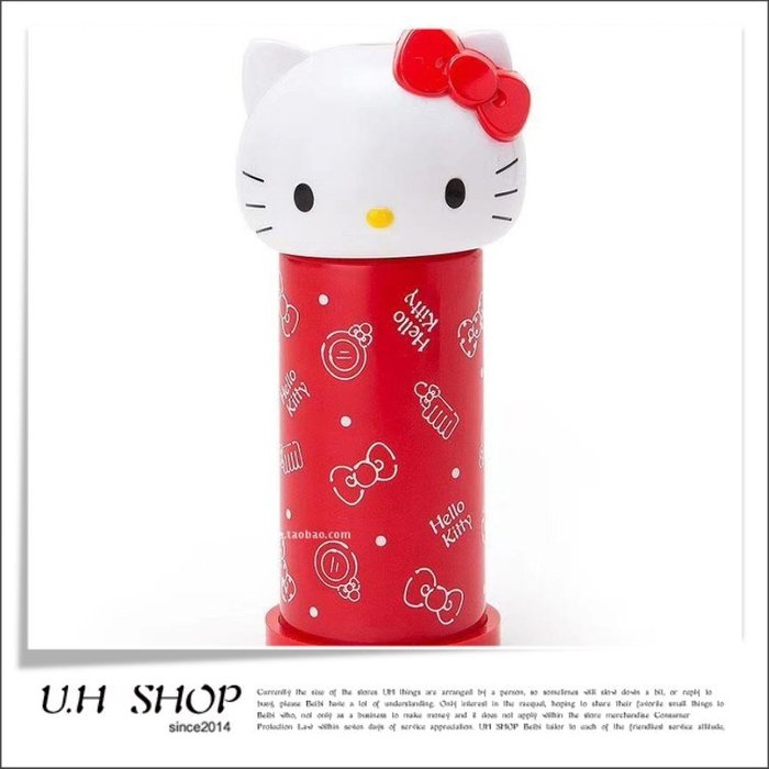 【 U.H SHOP】HELLO KITTY 凱蒂貓 按壓式棉棒收納盒