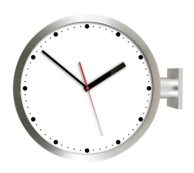 [On Loft]-double sided clock-歐洲雙面鐘 高鐵 車站鐘 設計旅店咖啡店-15寸銀色雙面圓點款