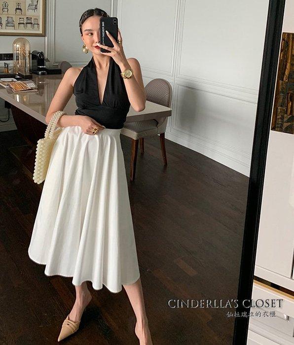 《仙杜瑞拉的衣櫃》sk1127 復古大裙擺 高質感素色高腰裙