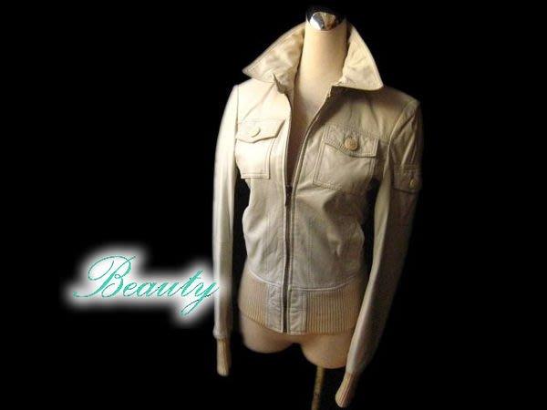 *Beauty*ZARA-TRF 米白色 軟質皮夾克皮衣外套 L號 真品 真皮MA