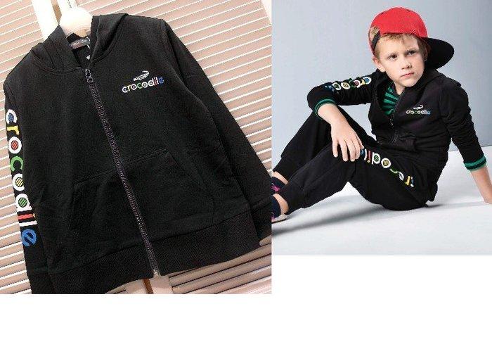 『小鱷魚Crocodile童裝-2020秋冬款』558702 LOGO飾袖棉質連帽外套(120-180公分)☆優惠款☆