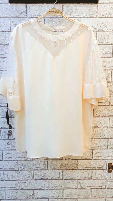 Nie Sansa 現貨 正韓甜美杏色設計款小性感網紗線條拼接大寬袖荷葉雪紡上衣