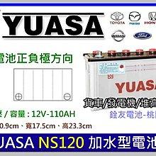 ☆銓友電池☆桃園電池☆實體店面 YUASA NS120 加水汽車電池 舊堅達 勁旺 勁勇