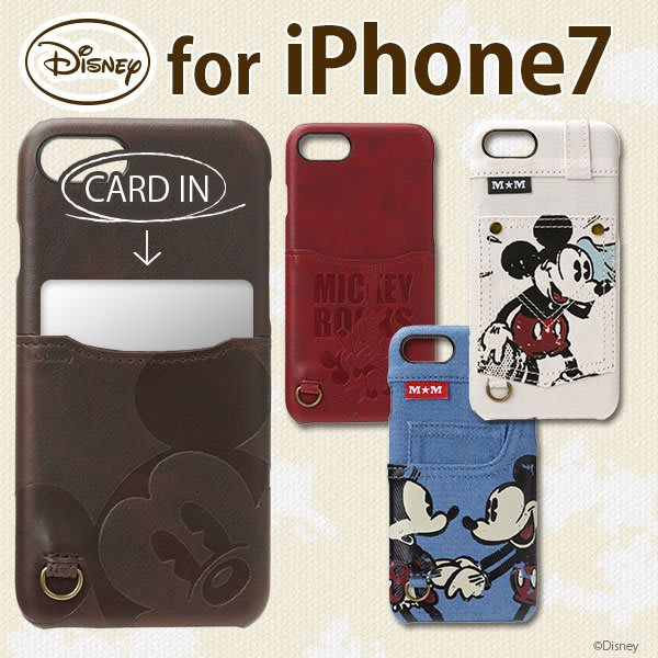 尼德斯Nydus 日本正版 迪士尼 米奇 米妮 可插卡 皮套 手機殼 4.7吋 iPhone7