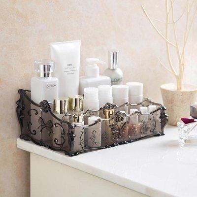 【蘑菇小隊】居家家 梳妝臺透明化妝品收納盒 桌面塑料多格整理盒護膚品置物架-MG97131