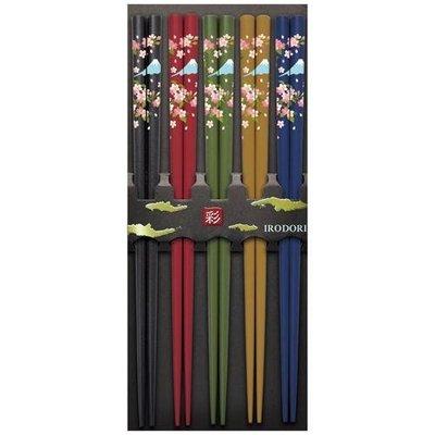 現貨 ◎日本直送◎ 五色 富士山 日本製 筷子 一組5雙