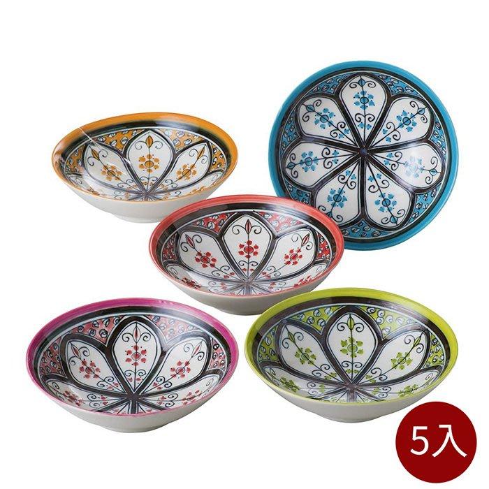 【日本bloom-plus】美濃燒 馬拉喀什民族風餐碗-5入組