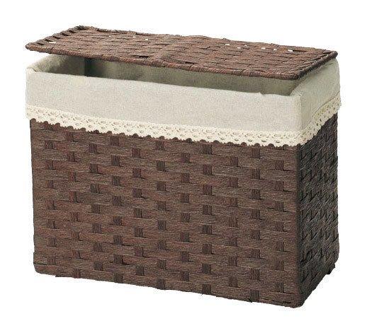 《齊洛瓦鄉村風雜貨》日本zakka雜貨 紙繩編織方形收納籃 紙編織收納籃 可蓋式紙編籃 小東西收納 衣物收納籃 (大)