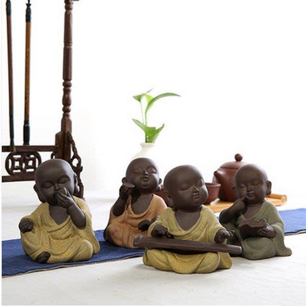 5Cgo【茗道】含稅會員有優惠 521443122136 小和尚紫砂茶寵擺件童子手工茶玩茶具配件茶道零配茶架擺飾 四隻