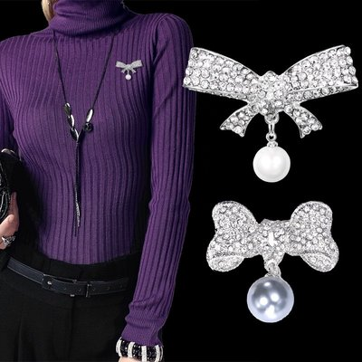 家財佛飾品蝴蝶結別針珍珠水鉆t胸針恤時髦扣針個性毛衣短袖胸花短襯衣蝴蝶