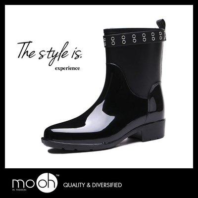 中筒雨鞋 皮帶扣 時尚素面百搭防水雨鞋 mo.oh (歐美鞋款)