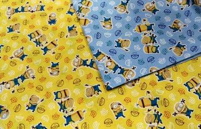 豬豬日本拼布 限量版權卡通布 可愛小小兵 薄棉布料材質 很適合做口罩 目前藍色黃色都還有的