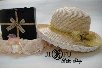 韓版草帽遮陽帽沙灘帽大圓帽盆帽防曬帽小禮帽漁夫帽~花朵兒蕾絲草帽(淺卡其色)