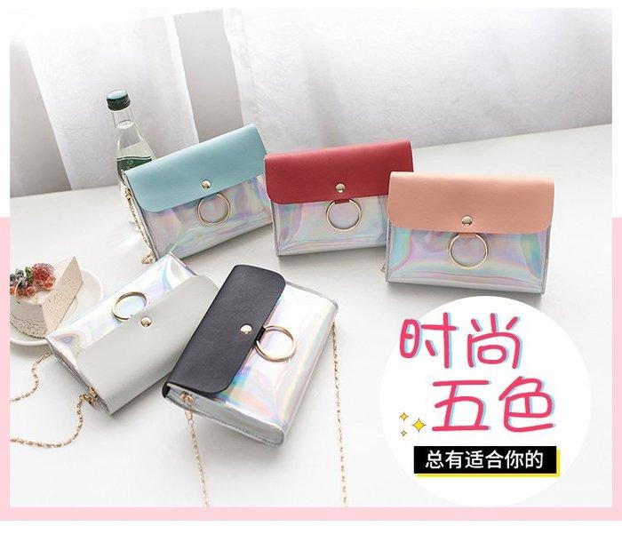 新款時尚圓環小方包手機小包包撞色炫彩單肩斜挎包女包迷你包