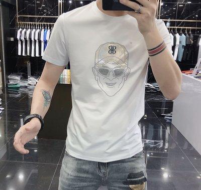 歐韓貨2021夏季新款歐美潮流時尚薄款絲光棉t恤男人頭鐳射刺繡修身短袖