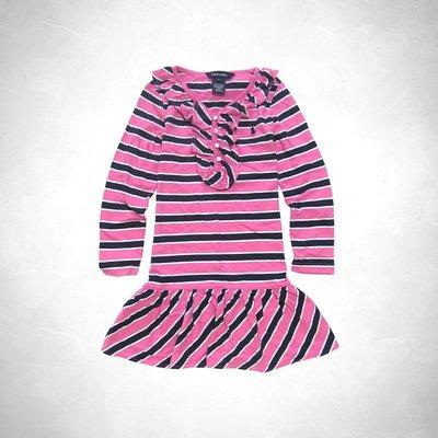 Polo Ralph Lauren 小女孩粉色條紋Ruffle長袖洋裝 (6T) r1(62366) ~全新正品