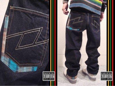 全新 FULFILL 超硬挺 閃電LOGO 彩色格紋接布 高磅口袋格紋拼布 原色單寧牛仔褲 300含運費