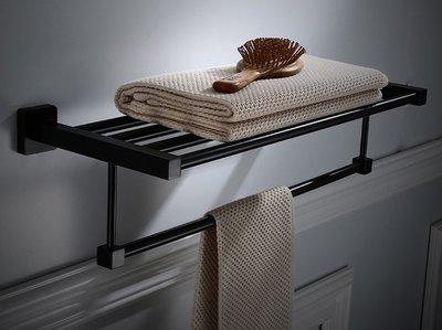 黑色 不鏽鋼 毛巾架 30公分 40公分 50公分 60公分 70公分 80公分 90公分 100公分 置衣架 方正四方