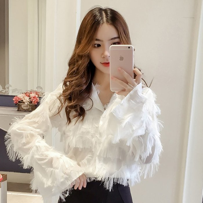 襯衫 雪紡衫 森女系 復古 甜美范 正韓 韓版純色甜美流蘇長袖襯衫女士時尚休閑潮流氣質襯衣