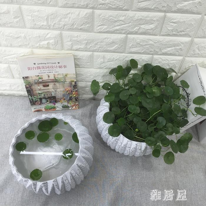 歐式裂紋陶瓷花盆室內創意水養水仙花銅錢草綠蘿睡蓮水培盆 LN56