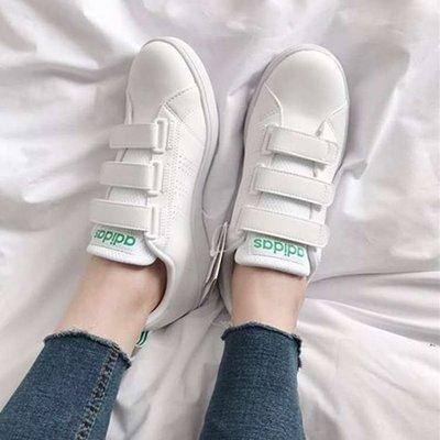 [麥修斯]ADIDAS VS ADVANTAGE CL CMF 白綠 愛迪達 魔鬼氈 女款 休閒鞋 AW5210