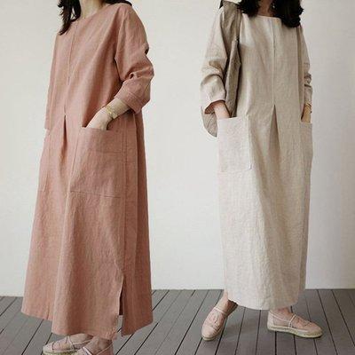 休閒洋裝 寬鬆舒適感五分袖側開叉大口袋棉麻連身裙 艾爾莎 【TAE8253】