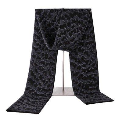 圍巾 針織披肩-豹紋提花羊毛保暖男配件3色73wi49[獨家進口][米蘭精品]