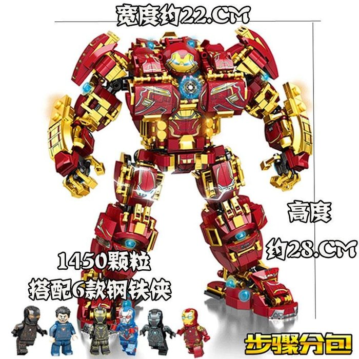 吉野の家 樂高復仇者聯盟4鋼鐵俠反浩克機甲男孩漫威拼裝積木兒童寶寶益智玩具