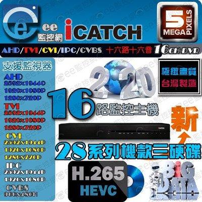 可取 16路 H.265 主機 監視器 5MP iCATCH 五合一系統 APP遠端 16音 2倍壓縮格式【ee監控網】