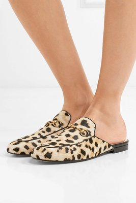 ~The Black Dan Moccani~ [新款] GUCCI Princetown 馬毛x豹紋 穆勒鞋/拖鞋