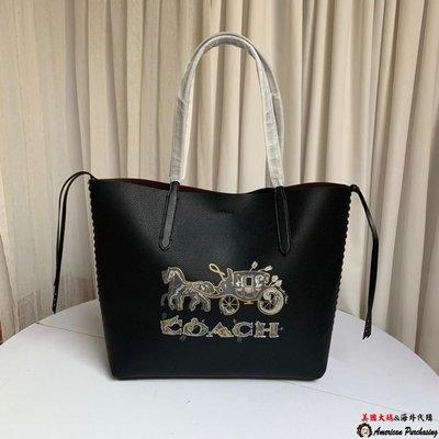 美國大媽代購 COACH 寇馳 76776 新款女士購物袋 馬車logo圖案側邊編織單肩包 美國代購